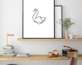 Duck Print, Geometric Poster, Digital Print, Minimal Animal Art, Modern Wall Poster, Abstract Art, Home Decor, Black And White Print