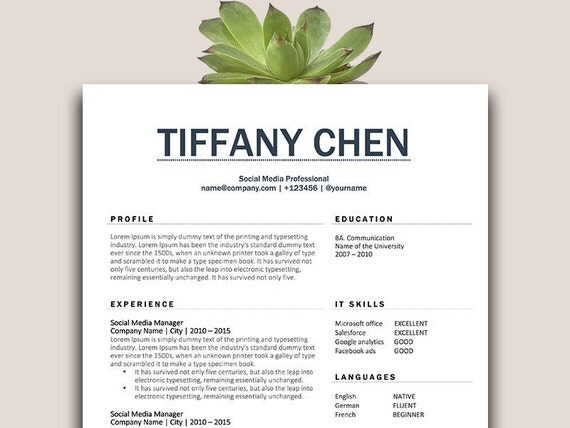 classic cv template cv template one page resume resume