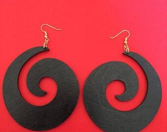 Large Black Swirl Earrings