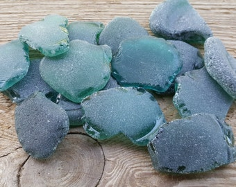 Large Thick Bottle Bottoms - Teal Color Sea Glass -Sea Glass Pieces-Large Beach Glass