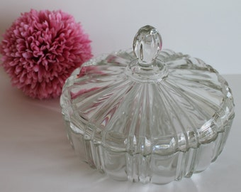 Anchor Hocking Fire King Clear Candy Dish with Lid