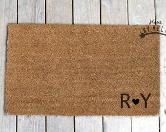 Custom Doormat Name Initials -Personalized