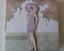 3d Decoupaged, Art Deco, 1920's style Flapper Female Birthday Card which can be personalised