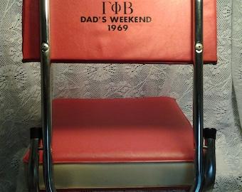 "Vintage Stadium Seat with back ""Dad's weekend 1969"""