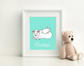 Personalized Sheep Parent & Child Print - Available in Four Colors