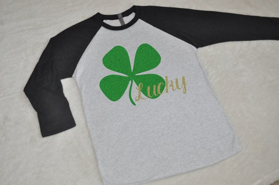 Shamrock St Patricks Day Shirts. Women's St. Patricks Day Shirt. Glitter Shamrock womens raglan