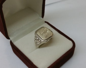"Ring silver 835 with initials ""EB"" vintage SR718"