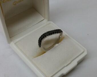 Ring 925 Silver crystals black wavy SR644