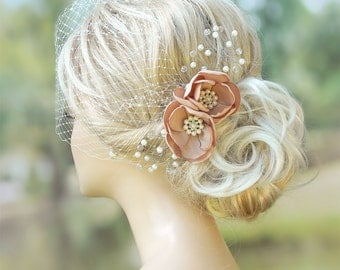 Bridal Birdcage Veil Wedding Hairstyles Bridal hair Wedding Fascinator Bridal Headpiece Hair updos Ivory fascinator Bridal Hairstyles
