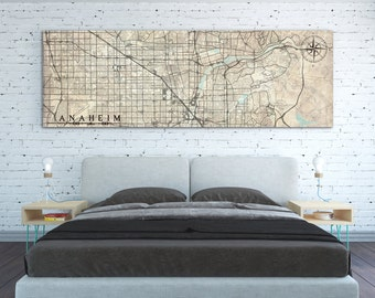 ANAHEIM CA Canvas Print CA California Vintage map Anaheim ca City Horizontal Wall Art Vintage old map Long Large Panoramic poster home decor