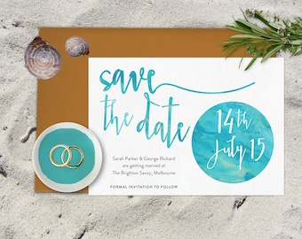 Save the date printable, Beach wedding save the date, Whimsical save the date, Printable save the date, Watercolour save the date