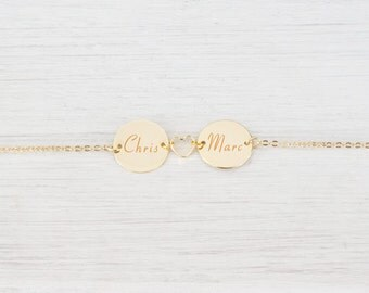 Personalized Gold heart Engraved Double name Bracelet Initial Monogram, lovers satellite personal bracelet, Christmas Gifts