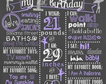 Ballerina Birthday Chalkboard / Ballerina Girl First Birthday Chalkboard / Ballerina Girl Birthday Chalkboard / Ballet Birthday Chalkboard