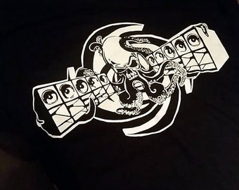 Fatal Kollision Soundsystem Birthday T-shirt. Handmade screen print. Octopus with Speakers.