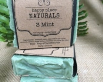 Handcrafted Soap - 3 Mint - 5 oz