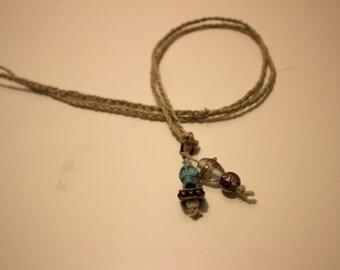 Braided Hemp Turquoise Skull Necklace