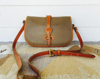 authentic vintage dooney and bourke crossbody - all weather leather crossbody - tan pebbled leather purse - shoulder bag