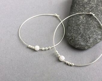 Extra large sterling silver hoop earrings, Thin silver hoops, Bohemian jewelry, Handmade silver modern hoop, Silver beads large hoops