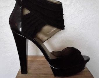 Fergie Womens Chipper Black Suede Heels Size 8.5