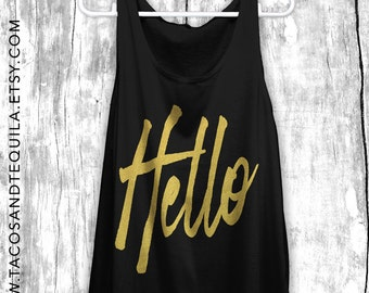 HELLO Adele From The Other Side Concert Summer Tank Top Shirt Party Boho Bohemian Boho Chic Beach Tank Black/GOLD!