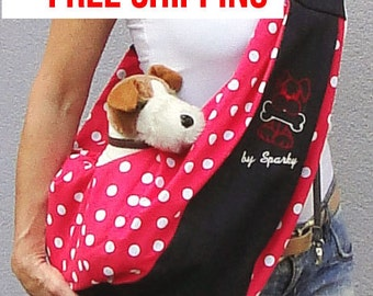 Small dog sling cerrier POLCA DOTS