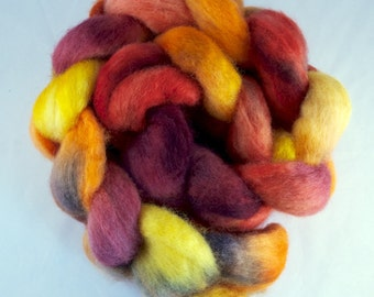 Hand Dyed Spinning fiber top, hand dyed wool, wool roving, Blue Faced Leicester, orange, red, yellow, 100g