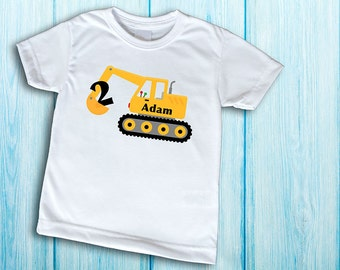Construction Birthday Shirt, Construction Party Shirt, Pick any number and lettering, digital printing on t-shirt, excavator tshirt for boys