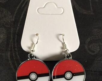Silver Plated Nintendo Pokemon Pokeball Earrings