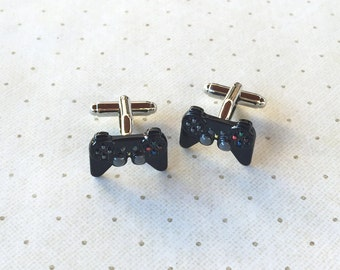 Video Game Controller Playstation  PS4 PS3 Xbox Nintendo Cufflinks Cuff Links in Dark Grey