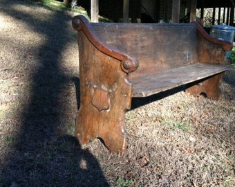 church pew, vintage, antique, distressed, shabby chic, refurbished 79 x 33 x 23