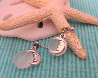 CLEARANCE!  Sea glass moon earrings