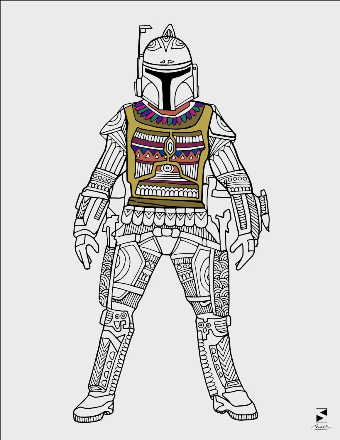 Star Wars Coloring Pages Boba Fett Printable Adult Coloring