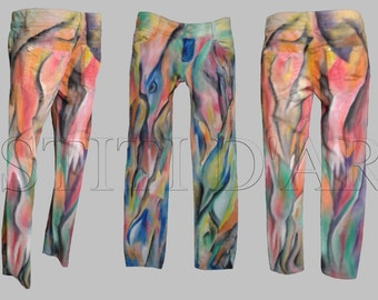 HAND PAINTED JEANS plus size clothing festival clothing gypsy clothing unique hippie jeans art dress to impress art tailored clothing
