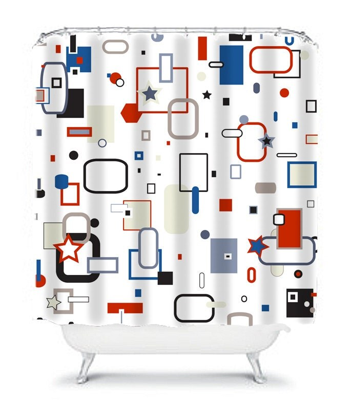 Red white and blue shower curtain bathroom decor abstract for Red white and blue bathroom accessories