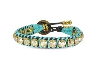 Swarovski Bracelet Crystal Bracelet Leather Wrap Bracelet Turquoise Bracelet Turquoise Jewelry Boho Leather Wrap Bracelet Girlfriend Jewelry