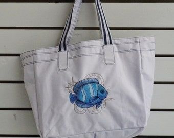 Bag embroidery, Machine embroidered fish on polyester shopping bag, tote bag,nautical