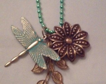 Dragonfly and Flower Pendant