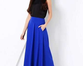Cobalt blue maxi skirt with pockets Pleated skirt with pockets Cobalt blue skirt Royal blue skirt Long office skirt pleated Long skirt women