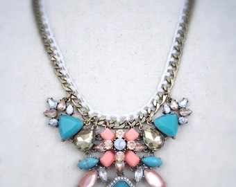 Statement necklace, coral statement necklace, turquoise statement necklace, gold statement necklace,