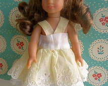 "1950'S VINTAGE DOLL SUNDRESS in lace and organdie for Mini American Girl doll and other 7'-8"" dolls, like Betsy, Ginny, Lottie, Riley Kish"