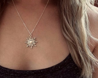 Hippie etsy sun necklace silver sun necklace sun choker charm choker hippie necklace mozeypictures Image collections