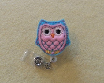 Blue and Pink Owl Bird Badge Reel, Medical Badge Reel, ID Badge Holder, Retractable Belt or Alligator clip, Felt, Feltie, Animal