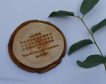 Wooden tree slice save the date, wood slice, wedding invitations, save the date, wedding stationary, bespoke wedding stationary, rustic