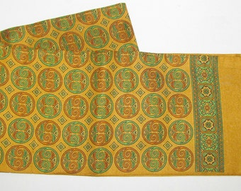 Vintage Gold Green Orange Opera Scarf, Self Fringe Foulard Medallion Print Fashion Acc, Stole, Double Sided Fabric, Unisex Style