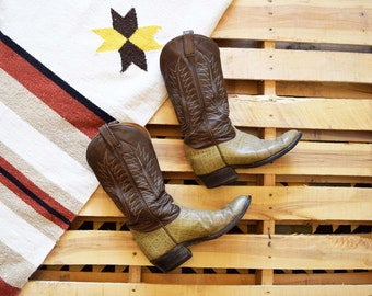 TONY LAMA Size 11 Men's Vintage <> 70s  Black Label El Paso Cowboy Boots <> Gray Bull Hide Vamp with Taupe Shaft Western