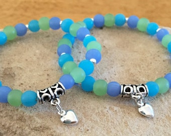Blue and green mother-daughter bracelets, glass bead bracelets, gift for mom, gift for daughter, sterling silver bracelets, heart charm