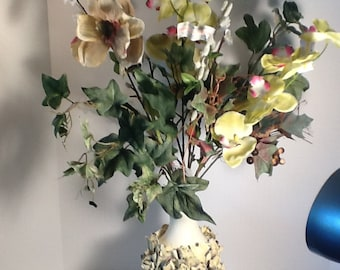 Flower Vase-Pale Yellow Ribbon:Elegant, unique, decorative, ceramic-like,Handcrafted repurposed recycled plastic container