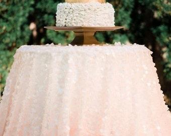Peach Sequin Tablecloth, Square Blush Peach Sequin tablecloth