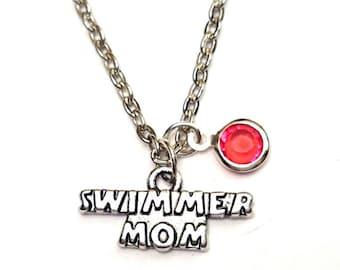 Swimmer Mom Necklace, Swimmer Mom Charm, Swimmer Mom Pendant, Swimmer Mom Jewelry, Swimming Necklace, Swimming Jewelry, Swim Team Necklace