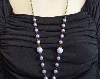 Purple Necklace / Glittered Glass Pendant